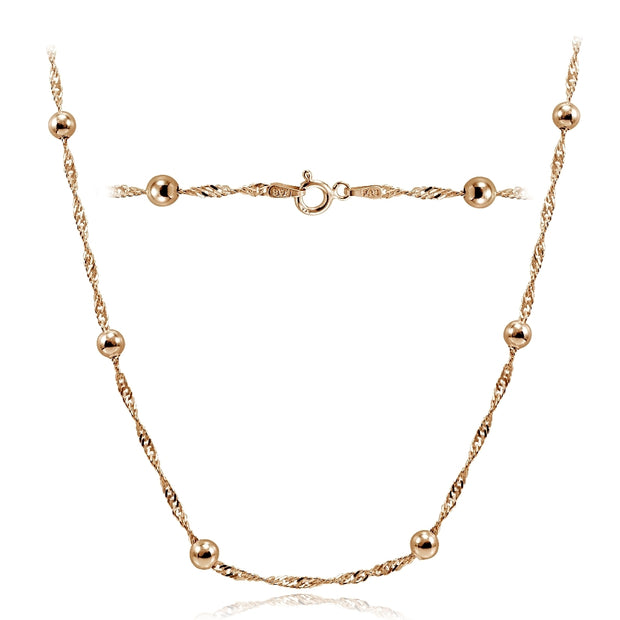 Gold Tone over Sterling Silver Italian Diamond-Cut Chain Necklace with Beads 24-Inches