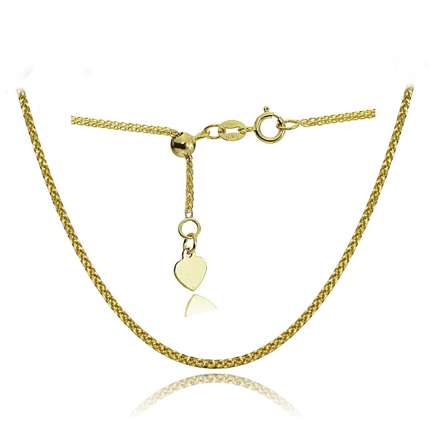 14K Yellow Gold .8mm Spiga Wheat Adjustable Italian Chain Necklace, 9-11 Inches