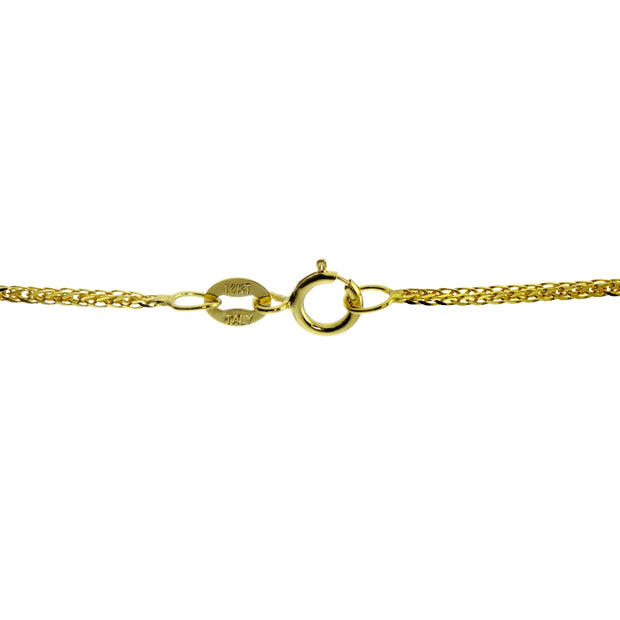 14K Yellow Gold .8mm Spiga Wheat Italian Chain Necklace, 18 Inches