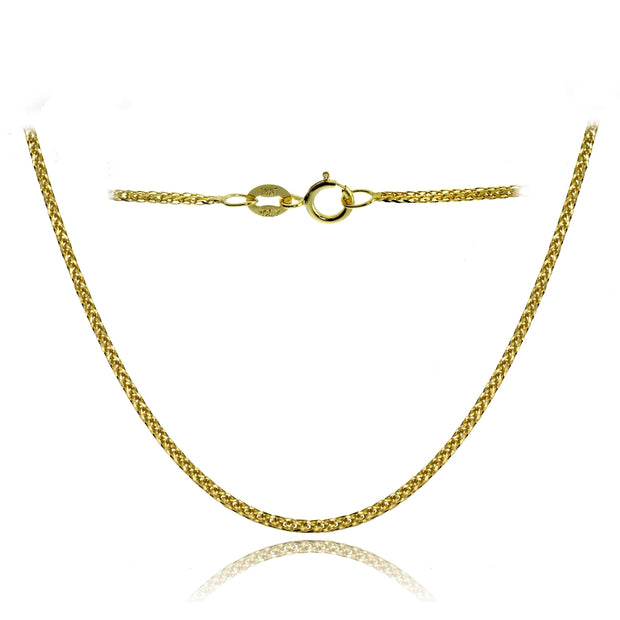 14K Yellow Gold .8mm Spiga Wheat Italian Chain Necklace, 24 Inches