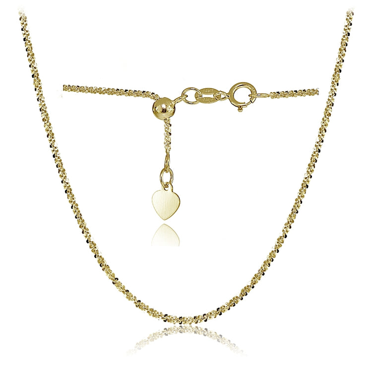 14K Yellow Gold 1.3mm Rock Rope Adjustable Italian Chain Necklace, 14-20 Inches