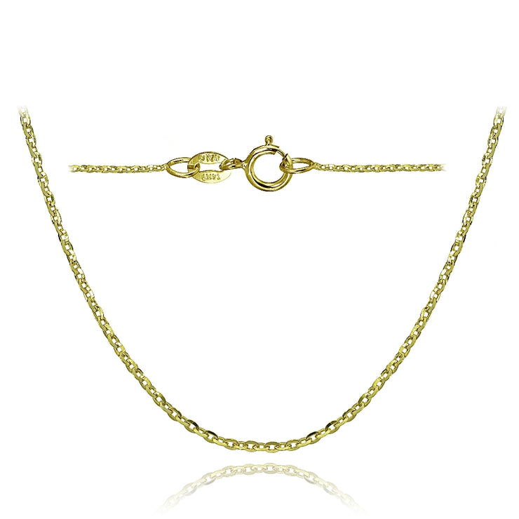 14K Yellow Gold 1.4 Diamond-Cut Cable Italian Chain Necklace, 16 Inches