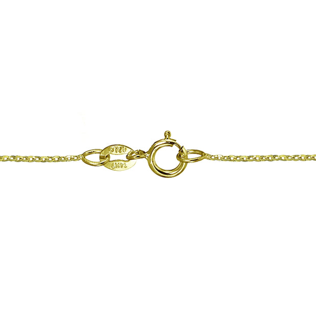 14K Yellow Gold 1.4 Diamond-Cut Cable Italian Chain Necklace, 18 Inches