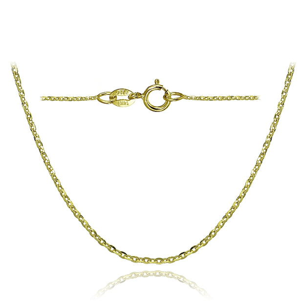 14K Yellow Gold 1.4 Diamond-Cut Cable Italian Chain Necklace, 20 Inches