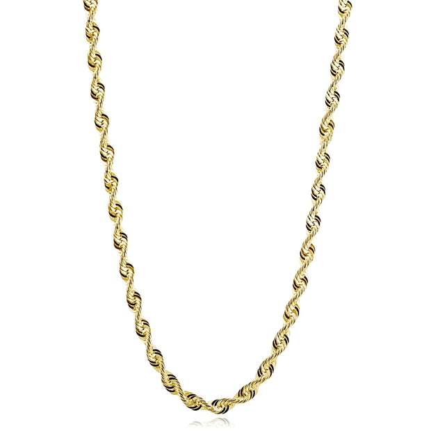 14K Yellow Gold 4mm Twist Hollow Rope Chain Necklace for Men and Women, 18 Inches