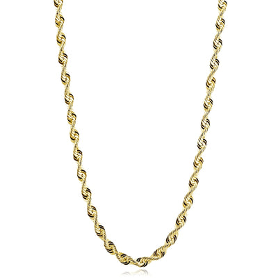 14K Yellow Gold 4mm Twist Hollow Rope Chain Necklace for Men and Women, 20 Inches