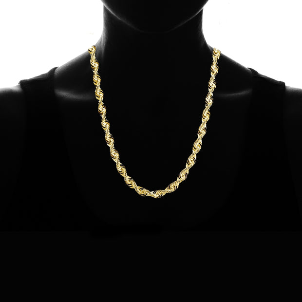 14K Yellow Gold 4mm Twist Hollow Rope Chain Necklace for Men and Women, 22 Inches