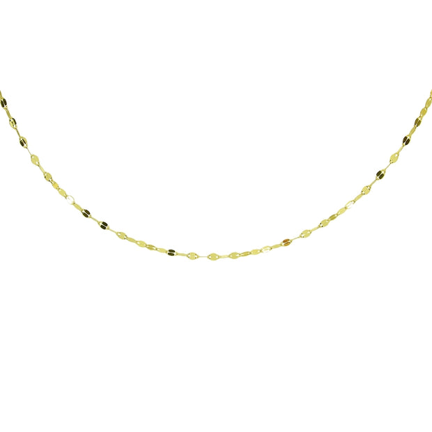 14K Yellow Gold Italian Chain Hammered Mariner Dainty Choker Necklace