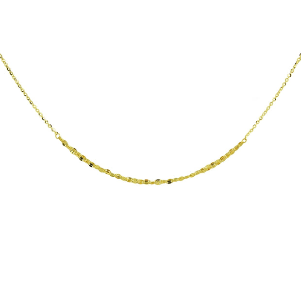 14K Yellow Gold Italian Chain Hammered Mariner Three-Layer Dainty Choker Necklace