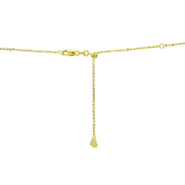 14K Yellow Gold Italian Chain Diamond-Cut Beads Dainty Choker Necklace