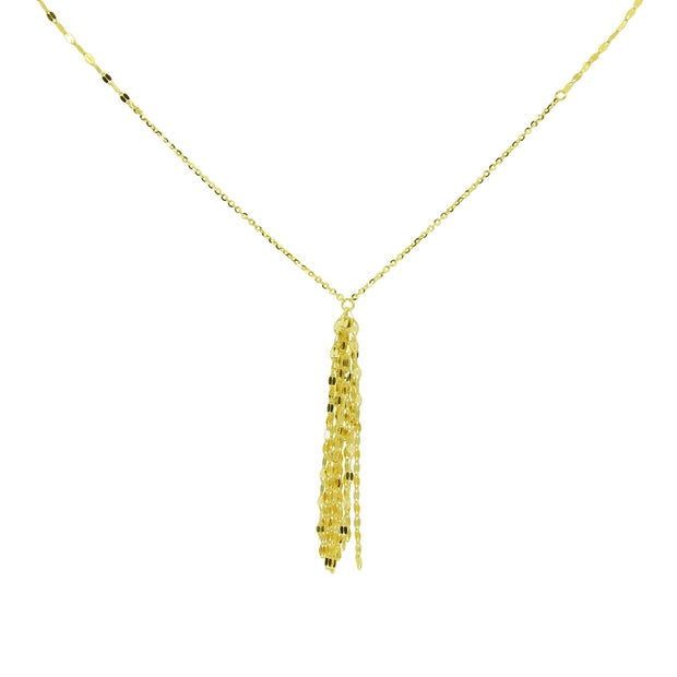 14K Yellow Gold Italian Chain Hammered Mariner Tassel Dainty Lariat Y-Necklace
