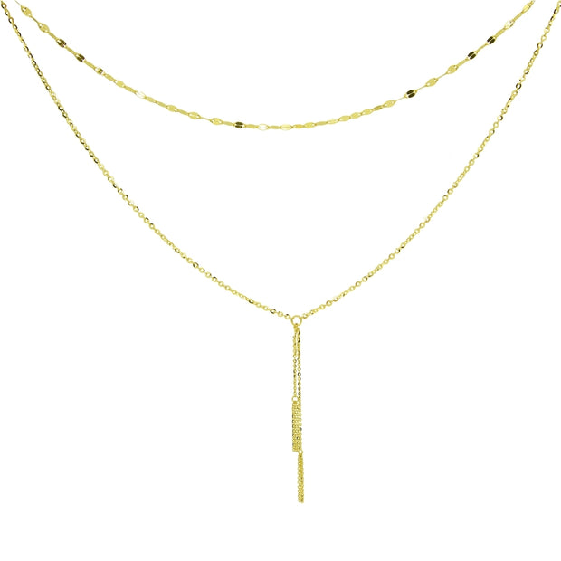 14K Yellow Gold Italian Chain Hammered Mariner Layered Dainty Lariat Y-Necklace