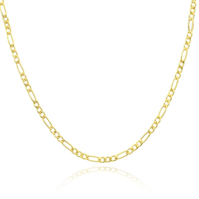 14K Gold Dainty Thin .6mm Figaro Link Chain Necklace, 16 Inches