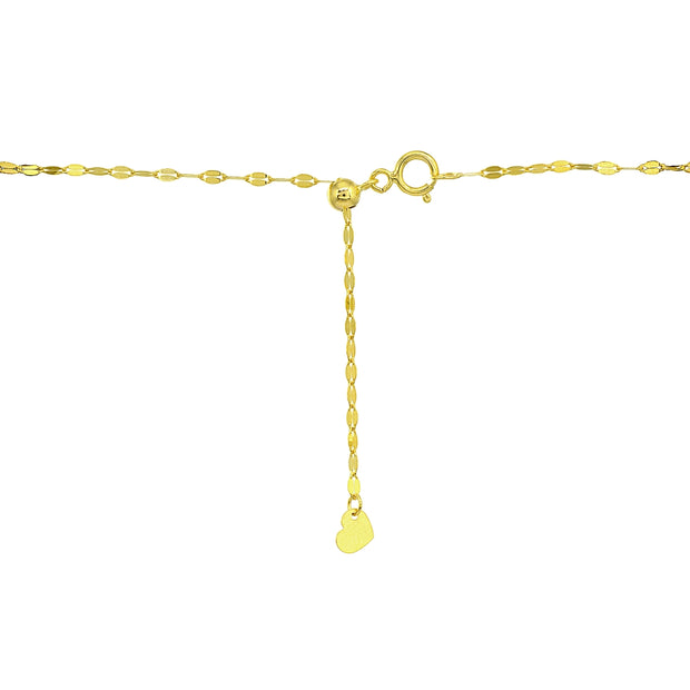 14K Gold Chain Mariner Italian Choker Necklace