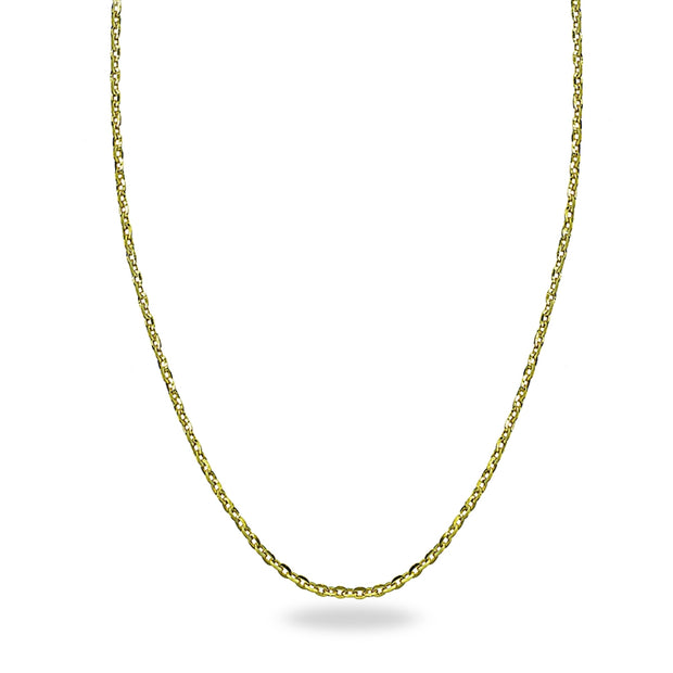14K Gold Chain Twist Link Italian Adjustable Necklace