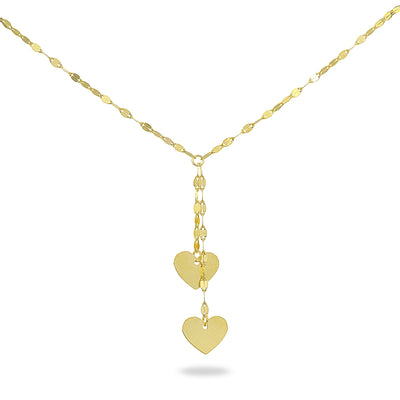 14K Gold Chain Italian Mariner Dangling Heart Necklace