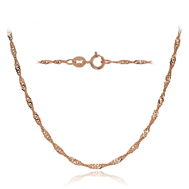 14K Rose Gold 1.4mm Singapore Italian Chain Necklace, 16 Inches