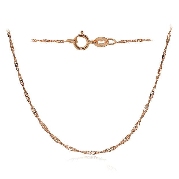 14K Rose Gold .9mm Singapore Italian Chain Necklace, 18 Inches