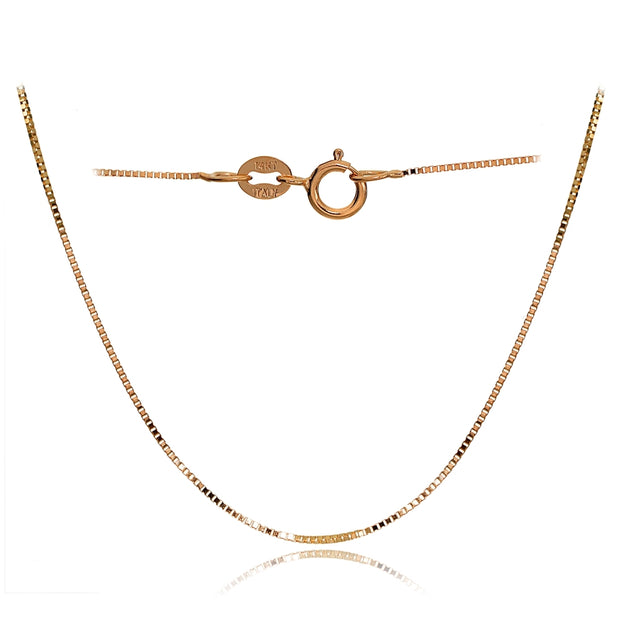14K Rose Gold .6mm Box Italian Chain Necklace, 18 Inches