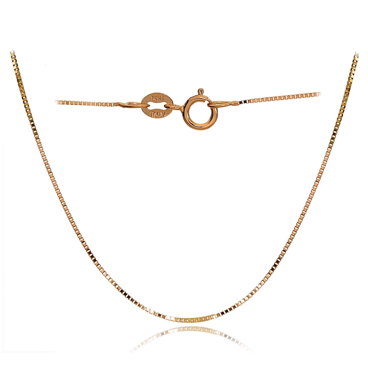 14K Rose Gold .6mm Box Italian Chain Necklace, 20 Inches