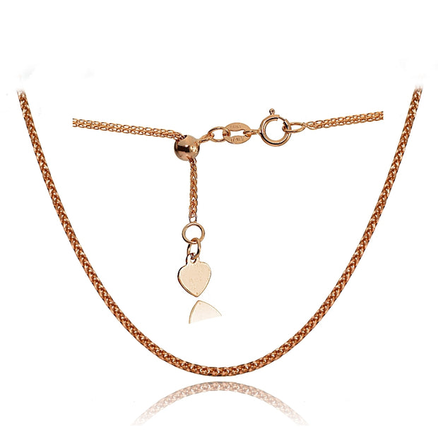 14K Rose Gold .8mm Spiga Wheat Adjustable Italian Chain Necklace, 9-11 Inches