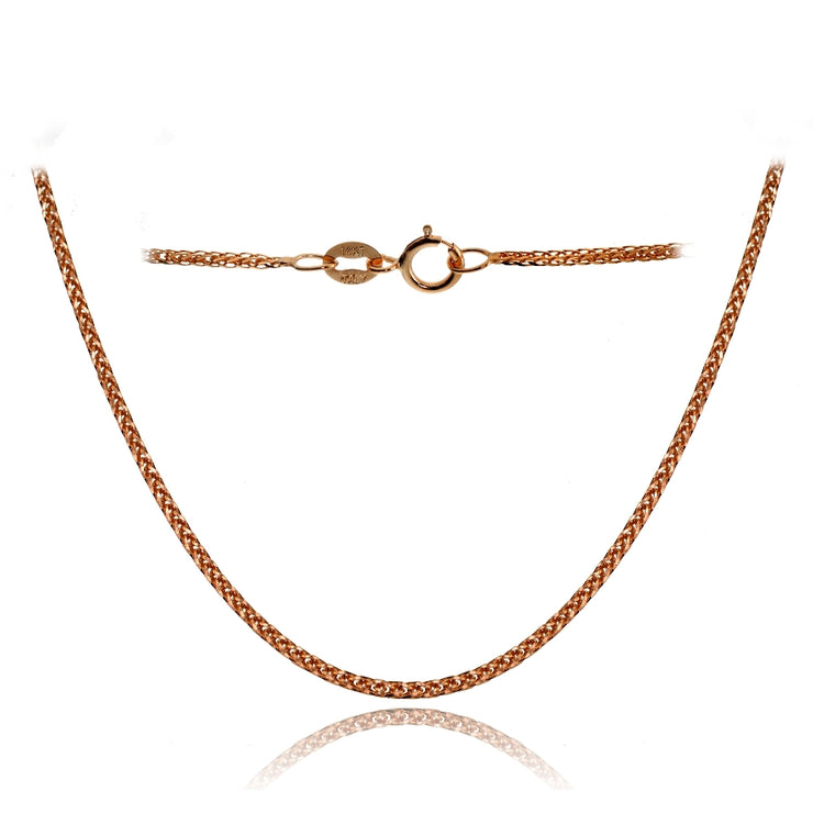 14K Rose Gold .8mm Spiga Wheat Italian Chain Necklace, 18 Inches