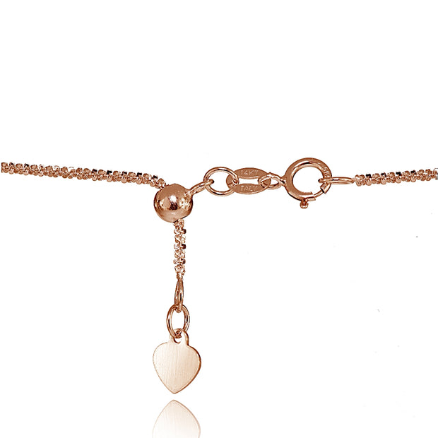 14K Rose Gold 1.3mm Rock Rope Adjustable Italian Chain Necklace, 14-20 Inches