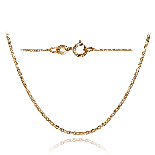 14K Rose Gold 1.4 Diamond-Cut Cable Italian Chain Necklace, 16 Inches