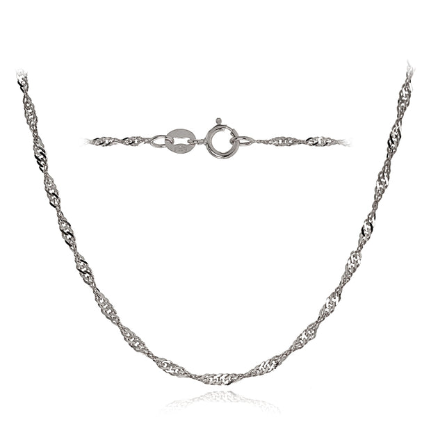 14K White Gold 1.4mm Singapore Italian Chain Necklace, 16 Inches