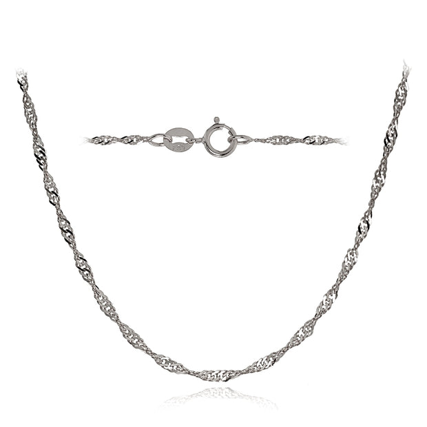 14K White Gold 1.4mm Singapore Italian Chain Necklace, 18 Inches