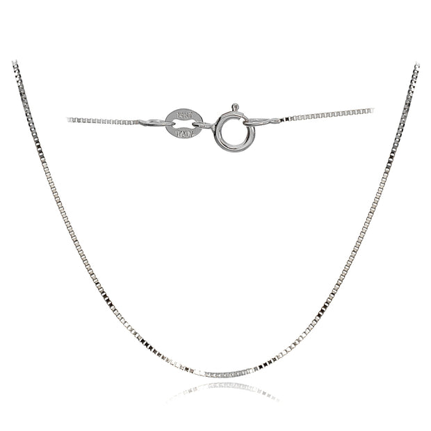 14K White Gold .6mm Box Italian Chain Necklace, 18 Inches