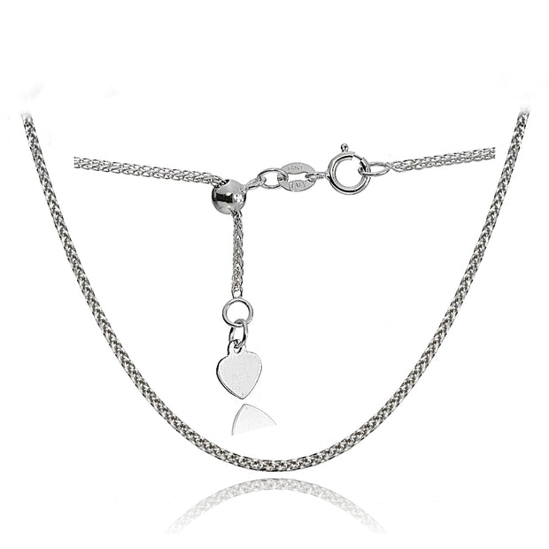 14K White Gold .8mm Spiga Wheat Adjustable Italian Chain Necklace, 9-11 Inches