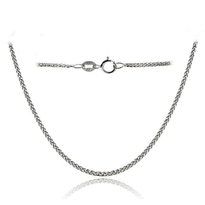 14K White Gold .8mm Spiga Wheat Italian Chain Necklace, 24 Inches