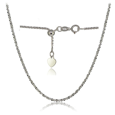 14K White Gold 1.3mm Rock Rope Adjustable Italian Chain Necklace, 14-20 Inches