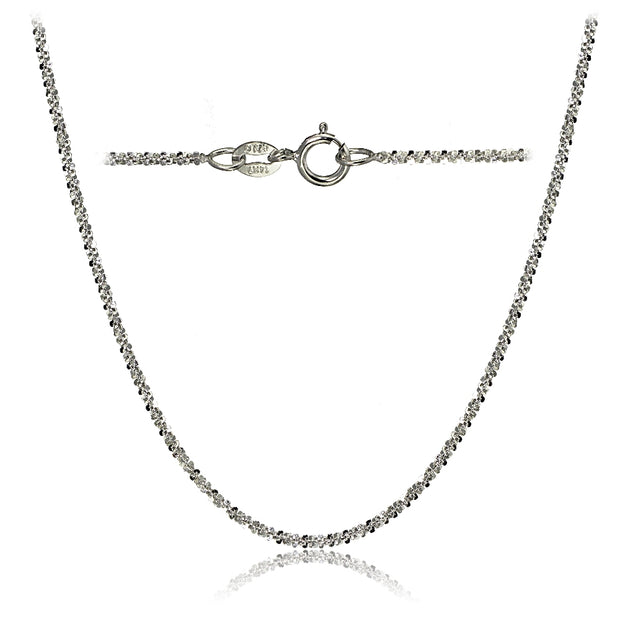 14K White Gold 1.3 Rock Rope Italian Chain Anklet, 24 Inches