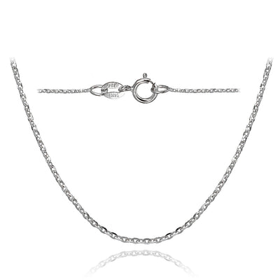 14K White Gold 1.4 Diamond-Cut Cable Italian Chain Necklace, 16 Inches