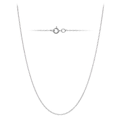 14k White Gold .7mm Rope Chain Necklace, 20 Inches