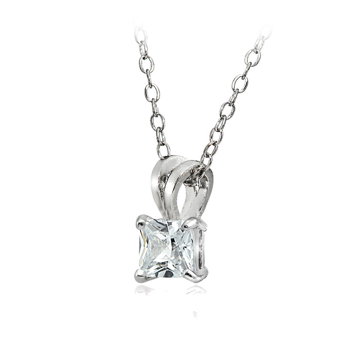 Sterling Silver 1.25ct Cubic Zirconia 6mm Square Solitaire Necklace
