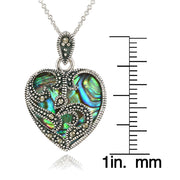 Sterling Silver Marcasite & Abalone Heart Necklace
