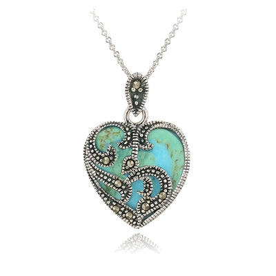 Sterling Silver Marcasite & Turquoise Heart Necklace