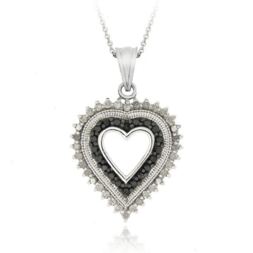 Sterling Silver 1/2 CTW Black Diamond and White Diamond Heart Pendant