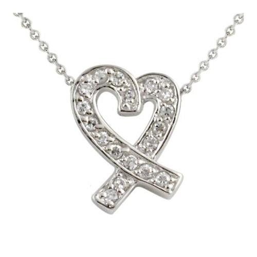 Sterling Silver Designer-Inspired CZ Ribbon Heart Slide Pendant