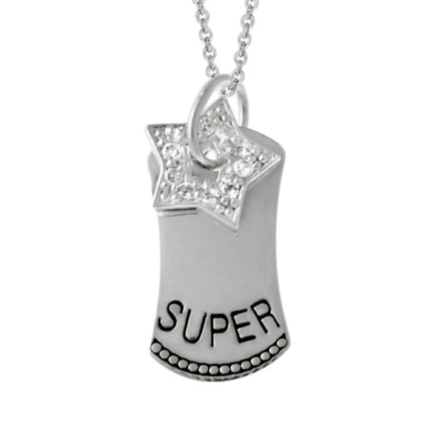 Sterling Silver 'Super' Star CZ Dog Tag Necklace