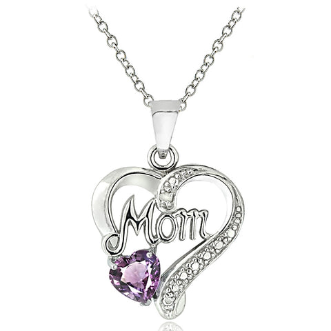 Sterling Silver Amethyst & Diamond Accent Mom Heart Pendant