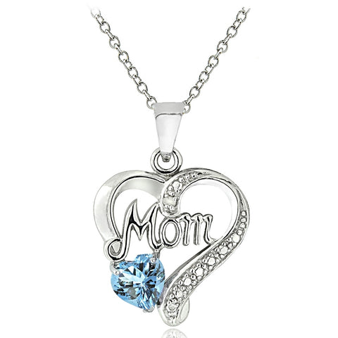 "Sterling Silver Blue Topaz & Diamond Accent ""Mom"" Heart Pendant"