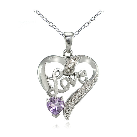 "Sterling Silver Amethyst & Diamond Accent ""Love"" Heart Pendant"