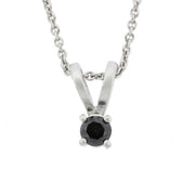 Sterling Silver 1/4 CT Black Diamond Stud Solitaire Pendant