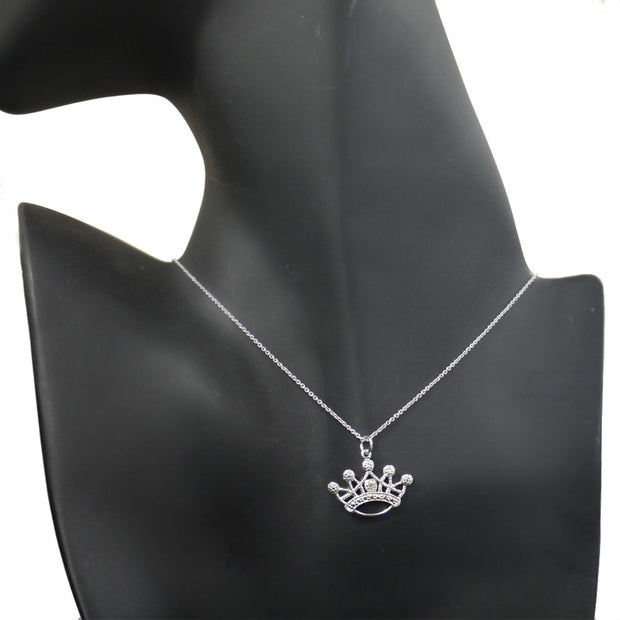 Sterling Silver Diamond Accent Designer Crown Necklace