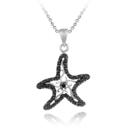 Sterling Silver Black Diamond Accent Starfish Pendant