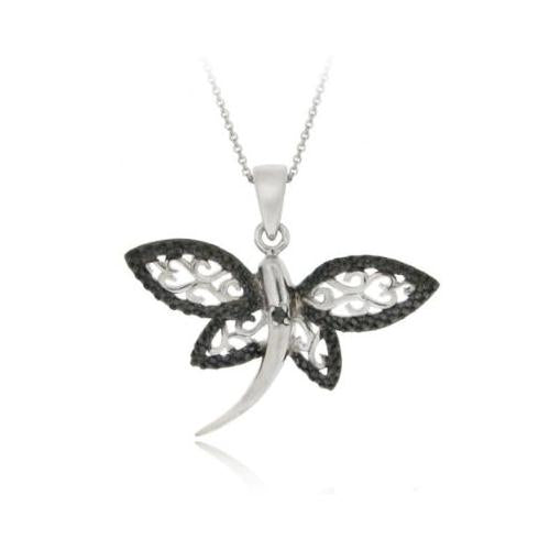Sterling Silver Black Diamond Accent Filigree Dragonfly Pendant